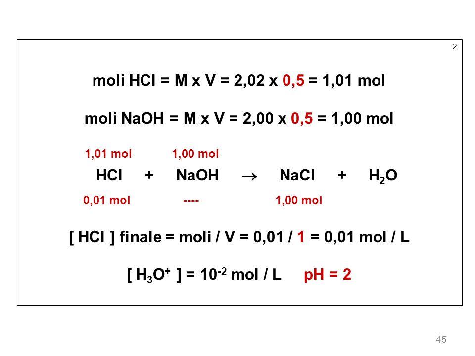 [ HCl ] finale = moli / V = 0,01 / 1 = 0,01 mol / L